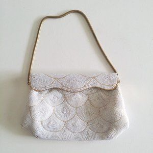 1950's Prettiest Beaded Clutch w Scallop Pattern